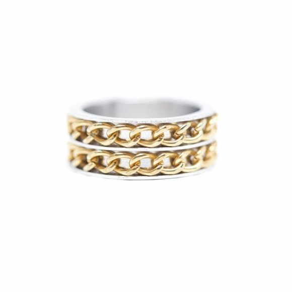 Jenna Jameson Jewelry - Two Tone 18k Gold Dipped Stainless Steel Mens Ring